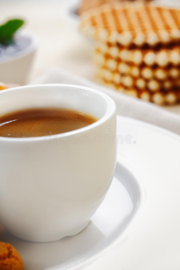 Cup of strong espresso coffee