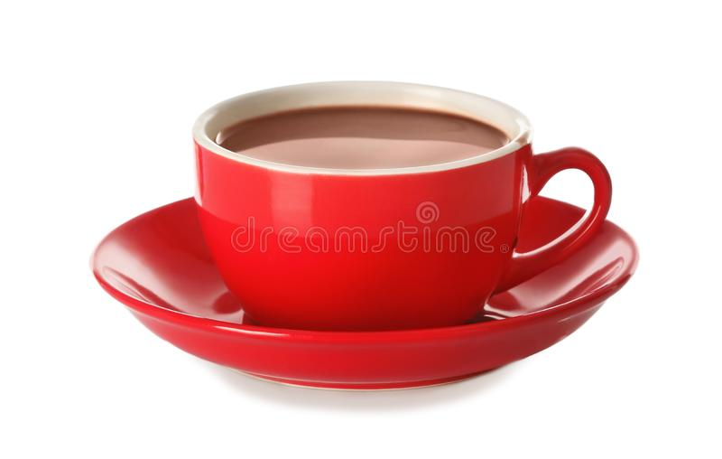 Cup of tasty cocoa drink on white background royalty free stock images