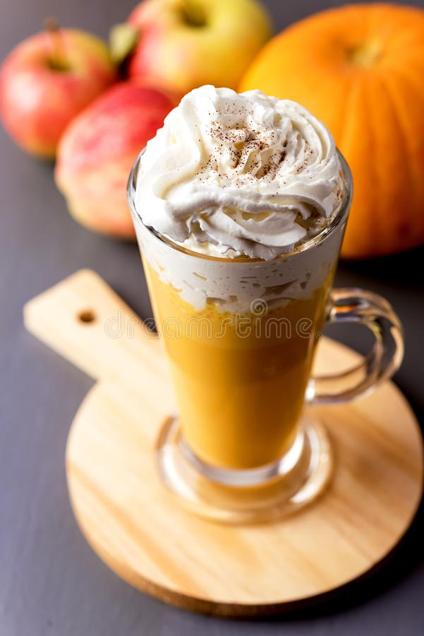 Cup of Tasty Honey Pumpkin Spice Latte with Whipped Cream Autumn Beverage Vertical Gray Background.  royalty free stock photos