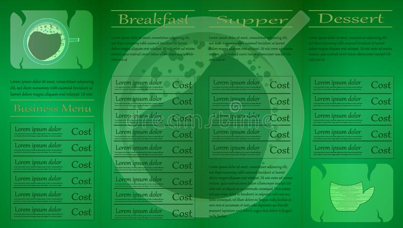 A cup of tea in the background of the menu. Layout of the menu of the tea card, menu on four pages. Balance between coffee and stock illustration