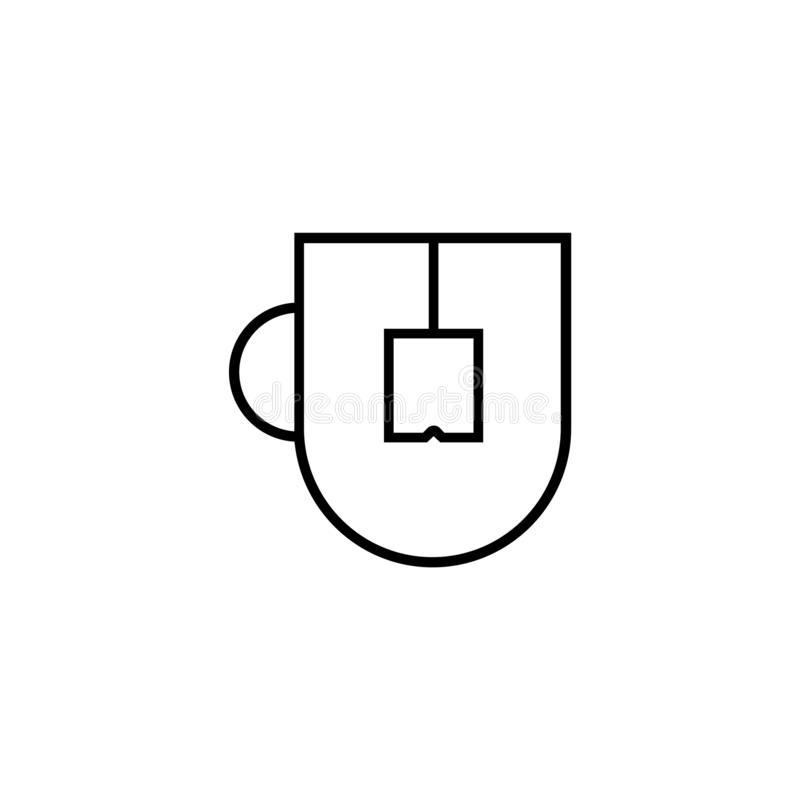 Cup with a tea bag icon vector illustration