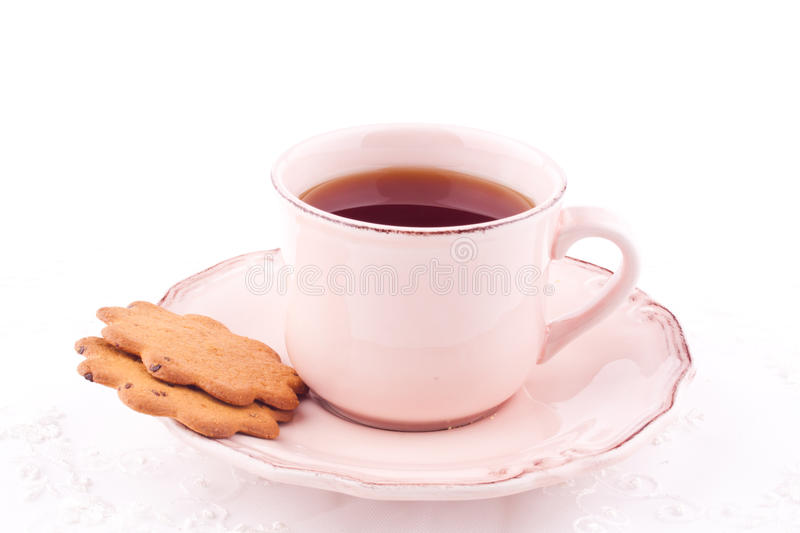 Download A cup of tea and biscuit stock image. Image of pink, thin - 28739287