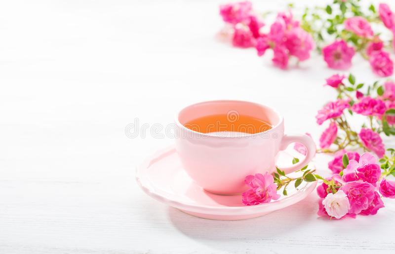 Cup of tea and branch of small pink roses on white rustic table royalty free stock image