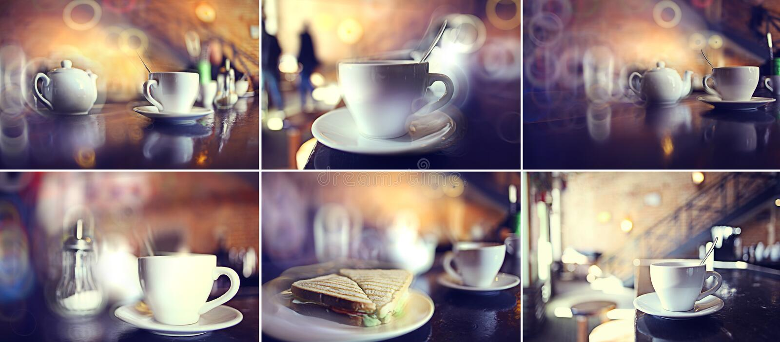 Cup of tea at a cafe royalty free stock photography
