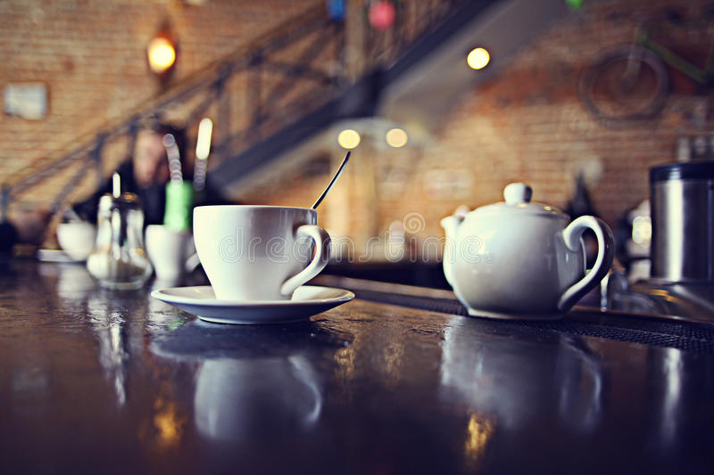 Cup of tea at a cafe royalty free stock photos