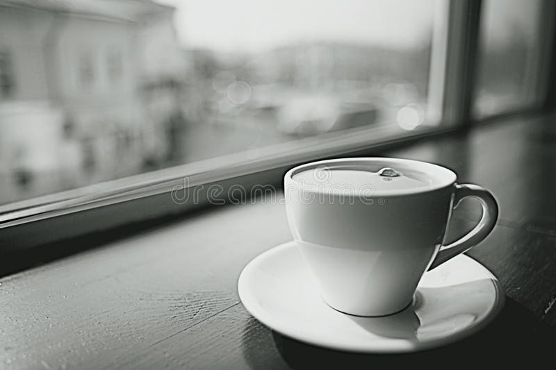 Cup of tea at a cafe stock image