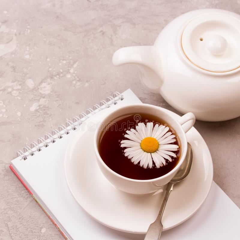 Cup of tea with chamomile flowers on grey stone background stock photography