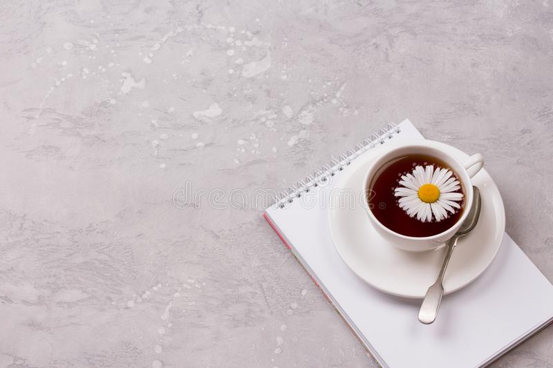 Cup of tea with chamomile flowers on grey stone background royalty free stock image