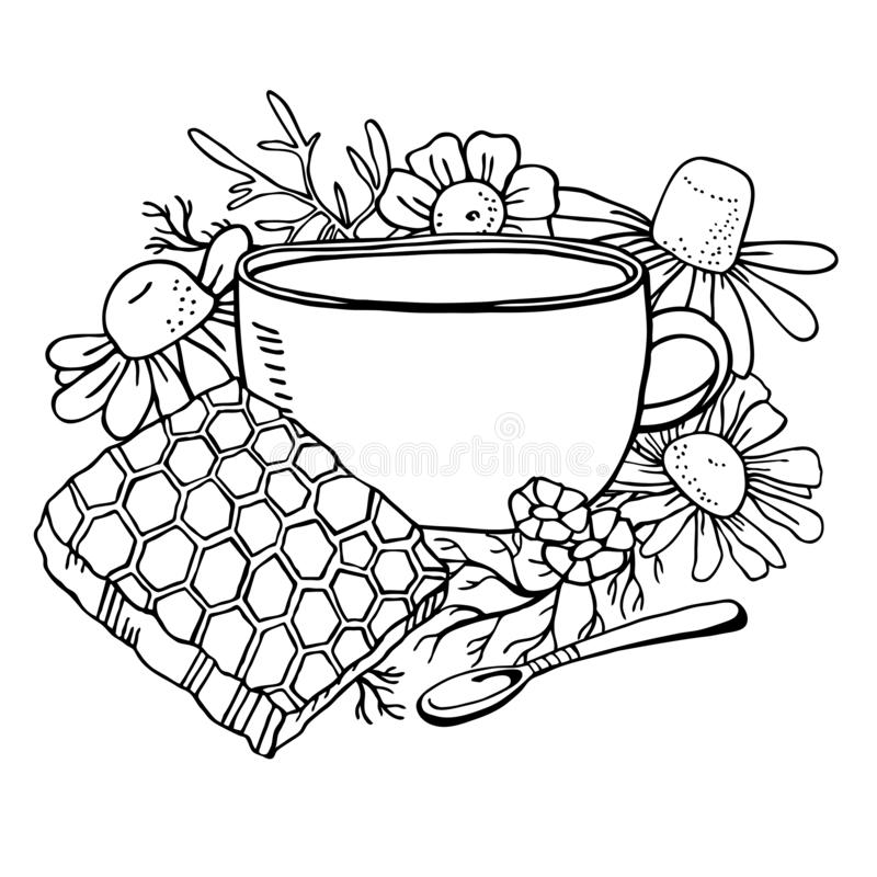 Cup of tea with chamomile flowers, spoon and honeycomb. Hand drawn sketch vector illustration. Black on white background royalty free illustration