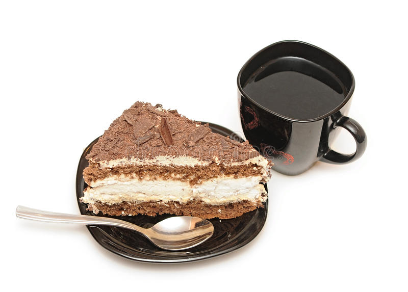 Cup Of Tea And Chocolate Cake Royalty Free Stock Photos