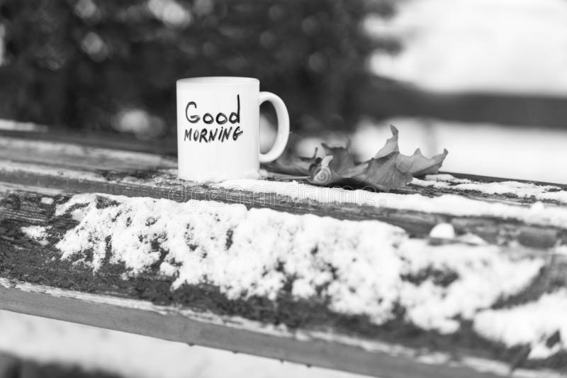 Cup of tea or coffee with Good Morning inscription. Drink on wooden board near autumn leaf. Winter morning drink concept. Mug of beverage on snow on natural stock images