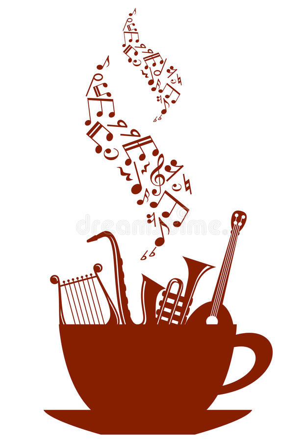 Musical cup of tea or coffee vector illustration