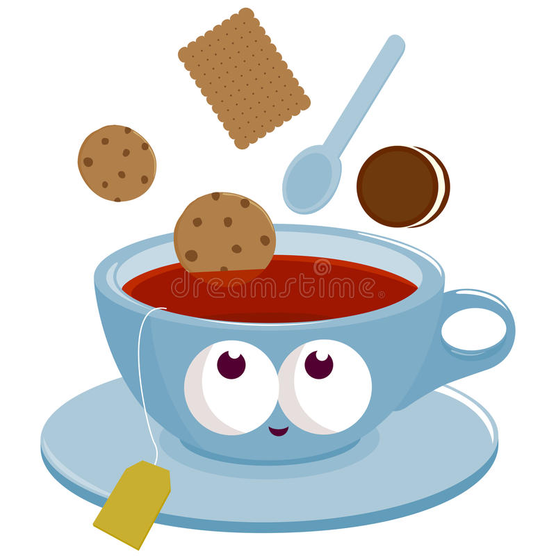 cup of tea and cookies dunking into tea stock vector breakfast clip art school breakfast clipart png