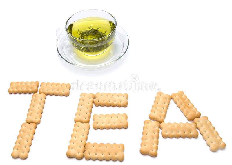 A Cup Of Tea With Cracker Royalty Free Stock Photos