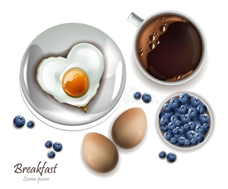 Cup of tea and eggs breakfast. Vector realistic Layout menu, page, cooking books. Cup of tea and eggs breakfast. Vector realistic Layout brunch menu, page vector illustration