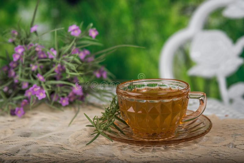 Download Cup of tea with flowers stock photo. Image of saucer - 93979098