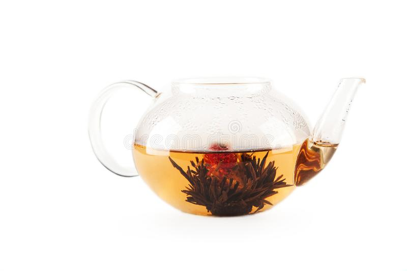 A cup of tea with fresh green and black tea leaves is isolated on a white background with copy space. Flower tea in a teapot stock photography