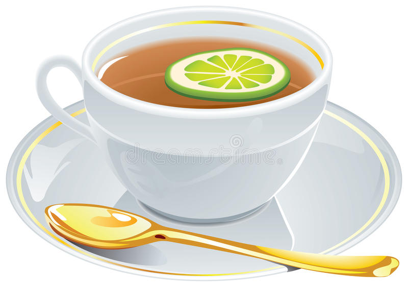Cup of tea with golden spoon. Cup of tea with golden spoon isolated on white. EPS available vector illustration