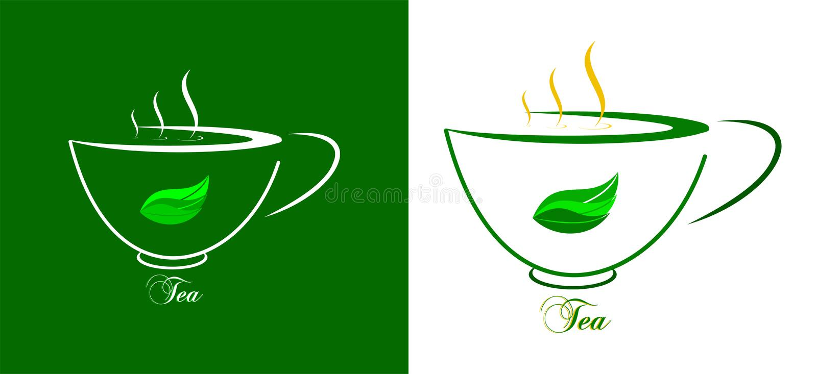 Cup of green tea with green leaves on white and green background. A cup of tea. Graphics on a green and white background. Green leaves on the background of a cup stock illustration