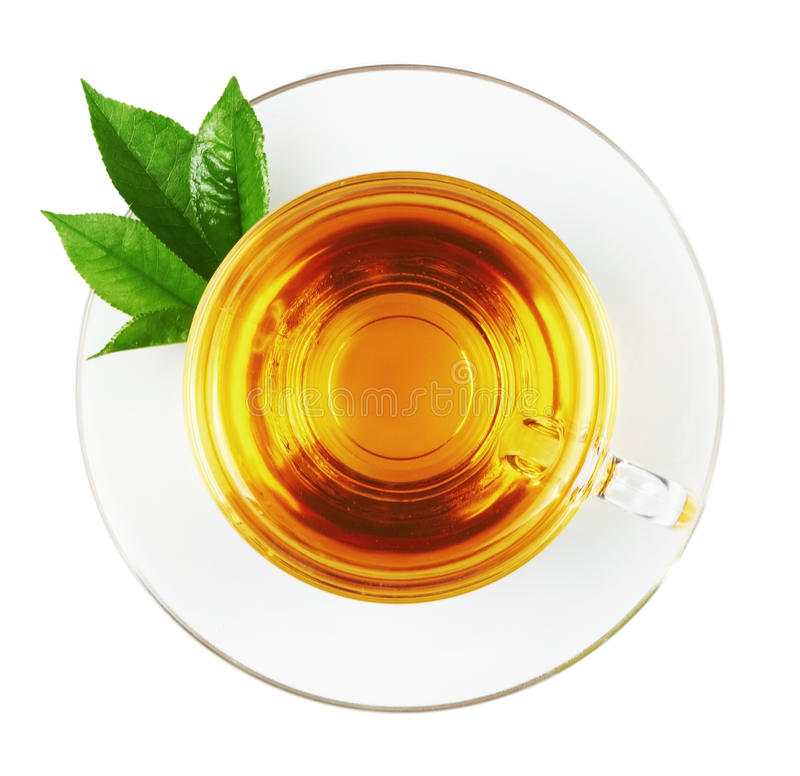 Download Cup With Tea And Green Leaf Stock Image - Image: 19815665