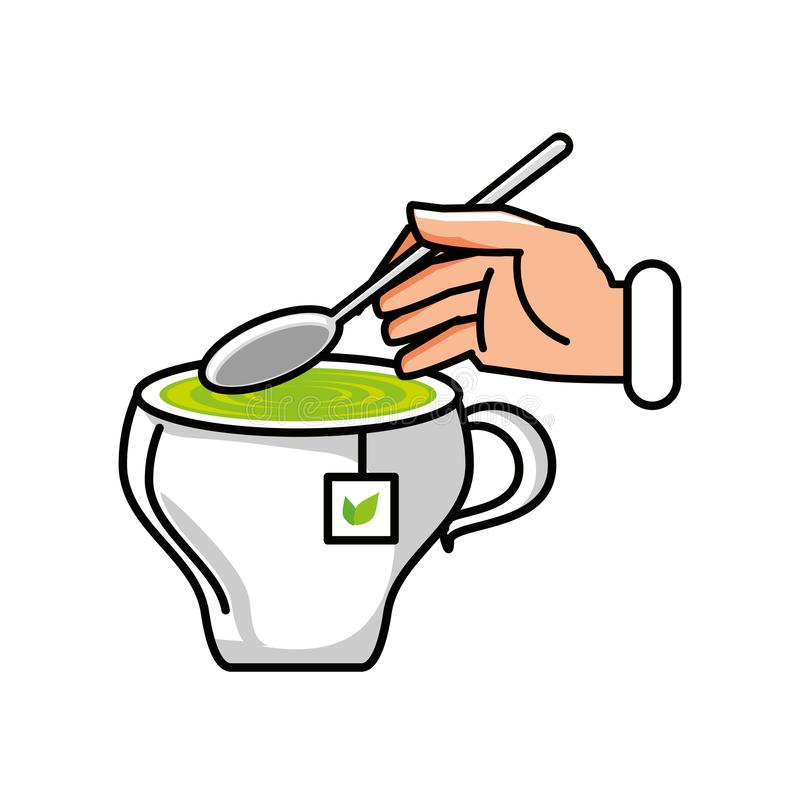 Cup of tea with hand and spoon. Vector illustration design royalty free illustration