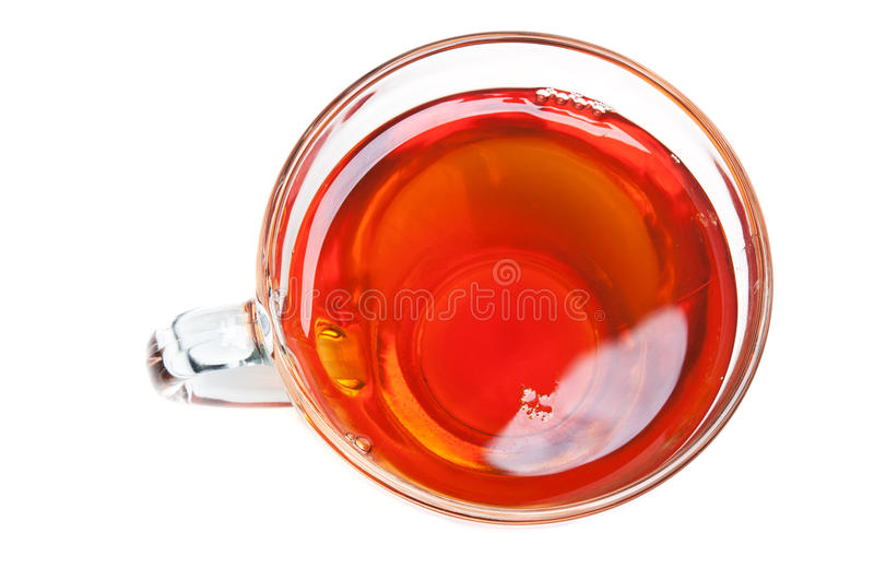 Cup of tea isolated. On a white background. Top view stock image