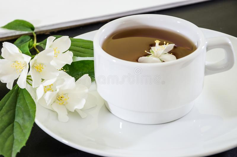 Cup of tea with jasmine on a black background, close-up royalty free stock photo