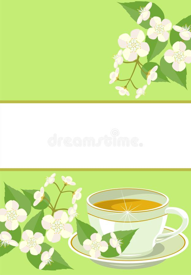 Download Cup Of Tea With Jasmine Flowers. Stock Vector - Image: 19463199