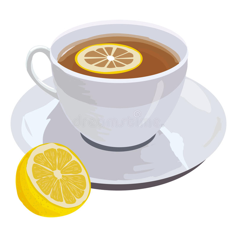 Download Cup of tea and lemon stock vector. Image of food, citrus - 21281653