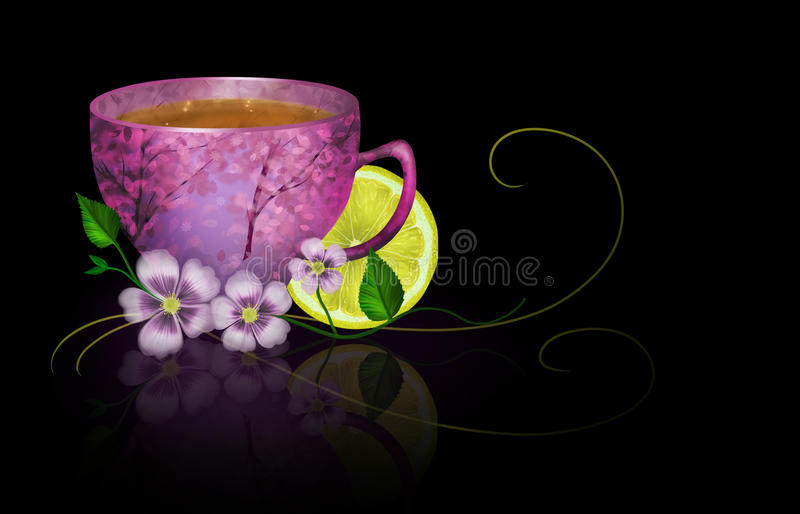 Download Cup Of Tea With Lemon And Flowers Stock Illustration - Image: 30797091