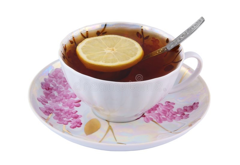 Download Cup Of Tea With Lemon And Teaspoon Stock Image - Image: 7560901