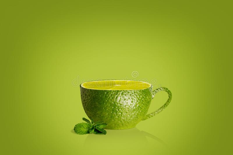 Cup of tea with lime royalty free illustration
