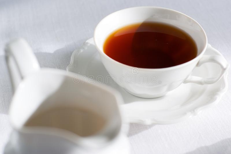 Cup Of Tea And Milk Jug. Stock Photo