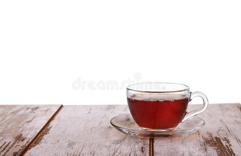 Cup tea with mint and lemon isolated on a white background royalty free stock image