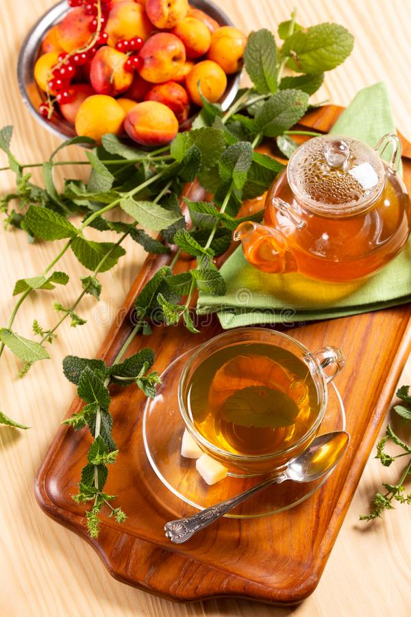 Cup of tea with mint on the table royalty free stock photo