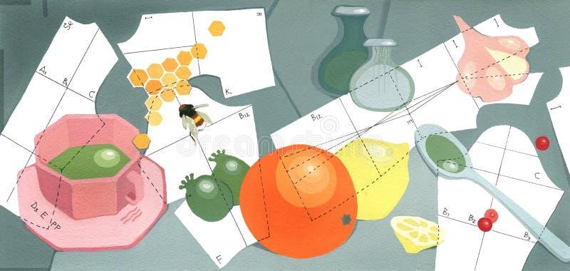 Vitamin pattern, Cup of tea, orange, lemon, pineapple guava, honey comb and garlic royalty free illustration