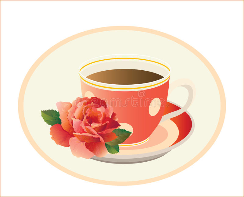 Cup of tea with rose. Vector Illustration vector illustration