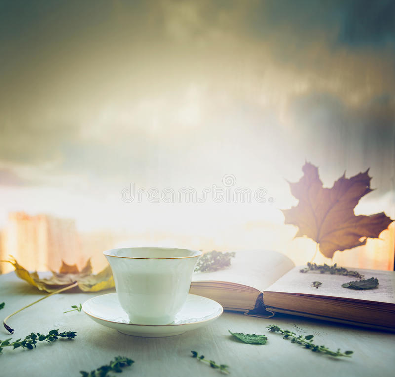 Cup of tea on a saucer with thyme, autumn leaves and open book on wooden window sill on nature blured sky background. Cup of tea a saucer with thyme, autumn stock photo