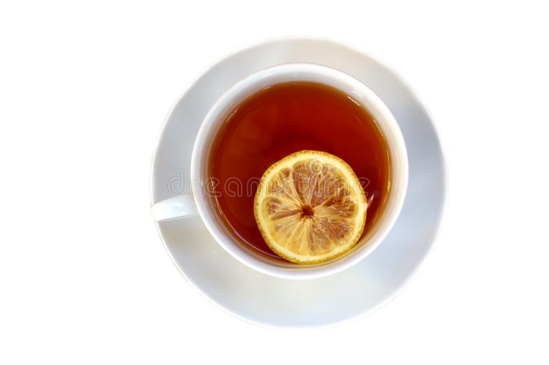 A cup of tea with a slice of lemon stock photo