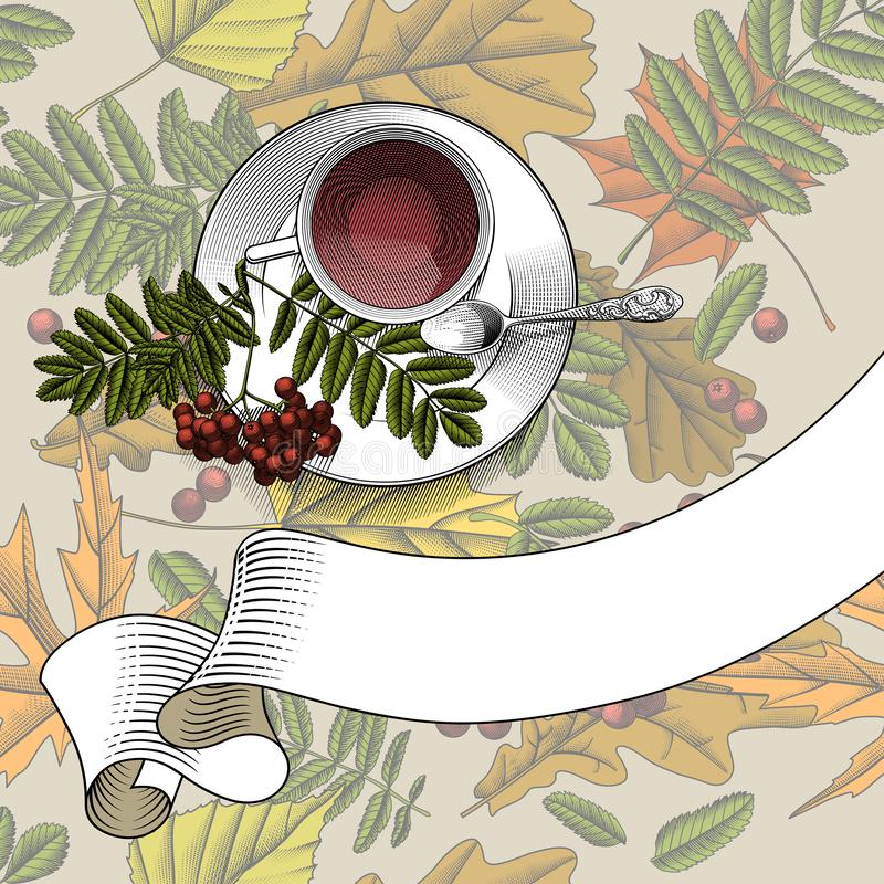 Cup with tea, small spoon saucer and rowan branch with a retro ribbon banner. Cup with tea, small spoon saucer and rowan branch with a retro ribbon banner on stock illustration