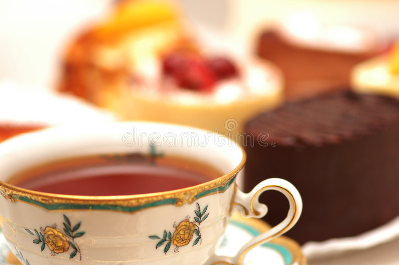 Download Cup of tea and some sweets stock image. Image of breakfast - 8157375