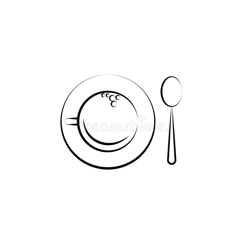 Cup a tea, spoon icon. Element of tea icon for mobile concept and web apps. Hand drawn Cup a tea, spoon icon can be used for web a. Nd mobile on white background stock illustration