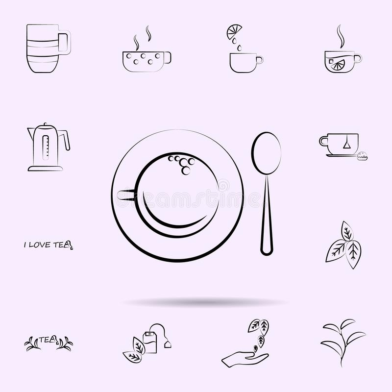 Cup a tea, spoon icon. Universal set of tea for website design and development, app development. On color background stock illustration