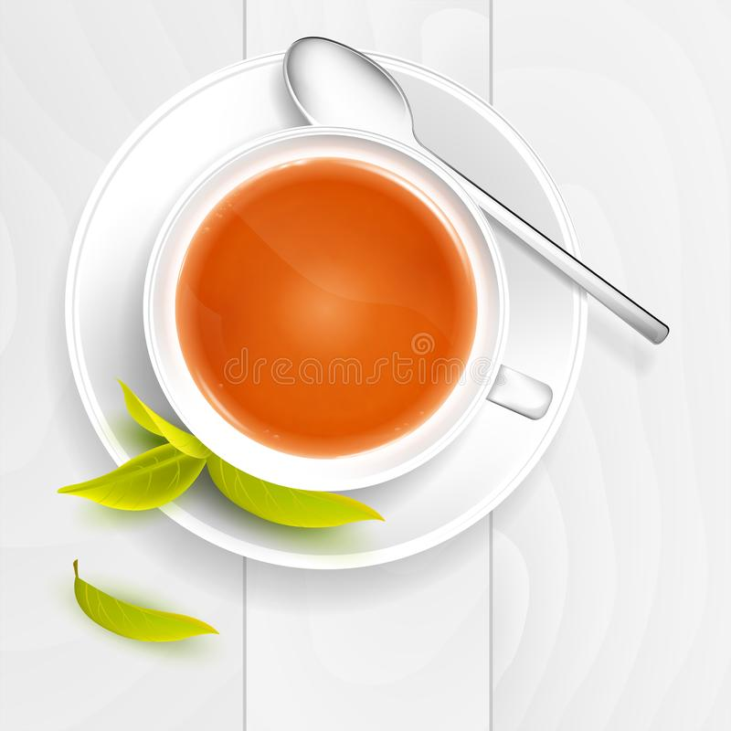 Cup of tea with spoon and tea leafs on wooden table. Vector illustration vector illustration