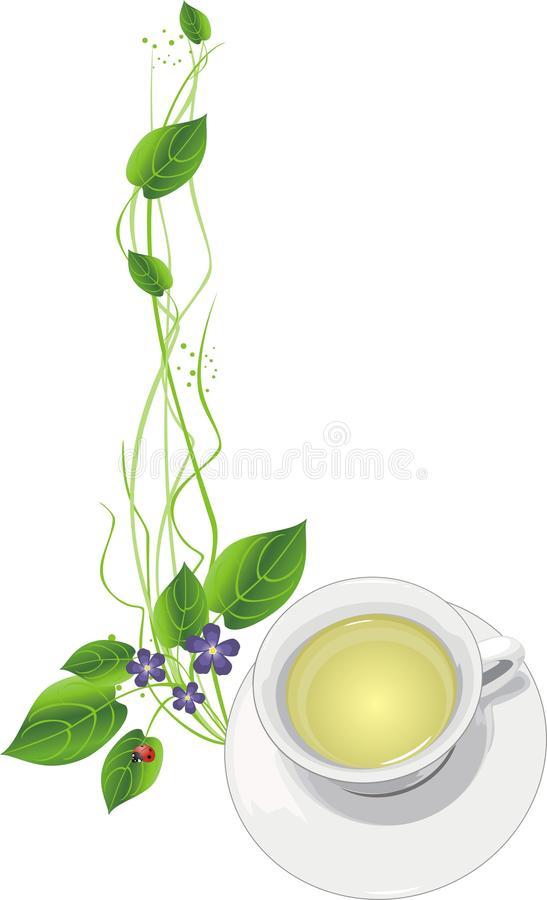 Cup with tea and sprigs royalty free illustration