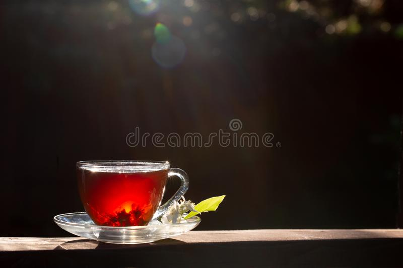 A cup of tea stands on a wooden table. Sun rays and bokeh. Dark background. Sunny summer evening, sunset stock images