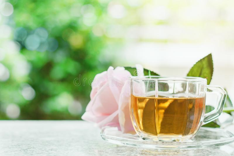 Cup of tea with sweet pink rose flower against blurred natural g stock image