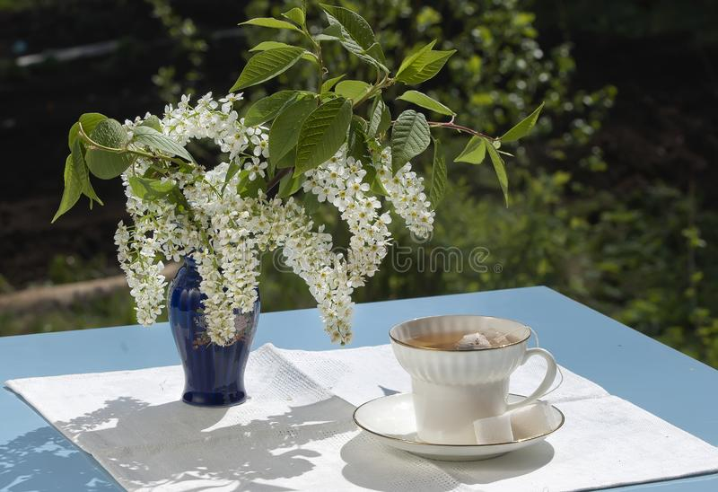 Download Cup Of Tea On Table In A Garden In The Spring Stock Image - Image of home, white: 19707059