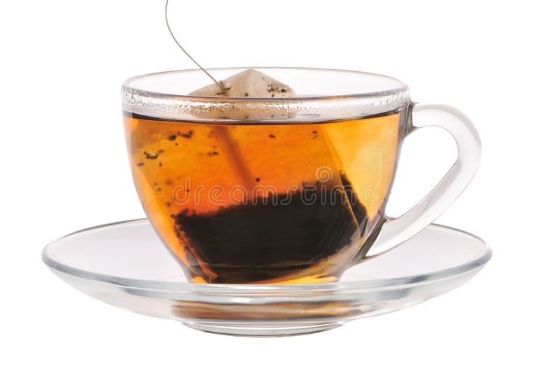 Cup of tea with tea bag royalty free stock image