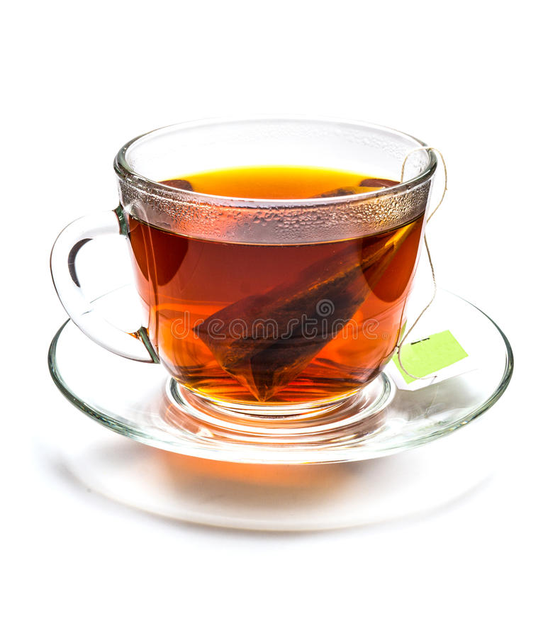 Cup of tea with tea bag isolated on white stock photo